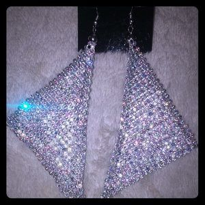 BRAND NEW!! LARGE Silver Mesh Earrings